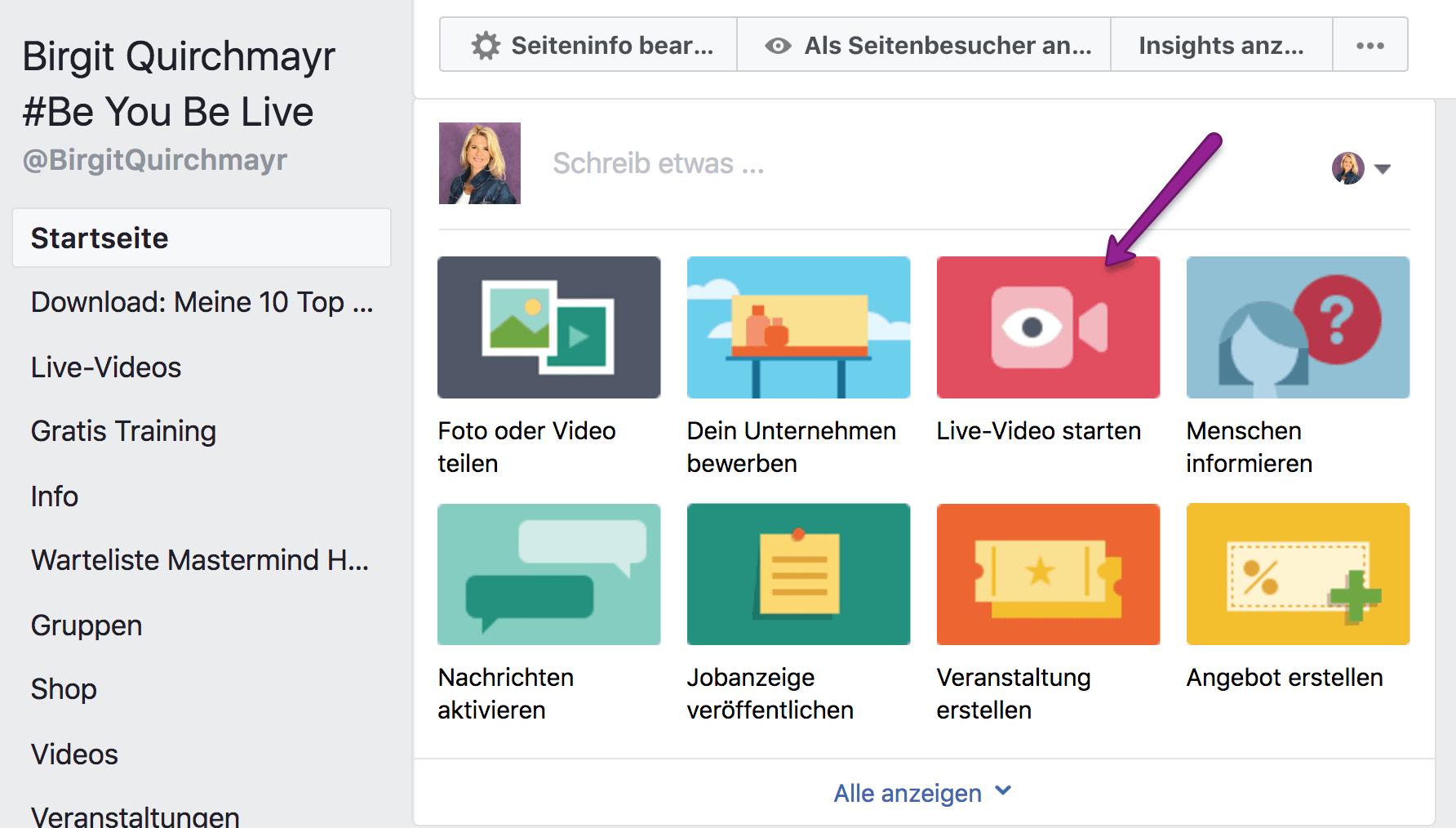 Facebook Live Video Planen