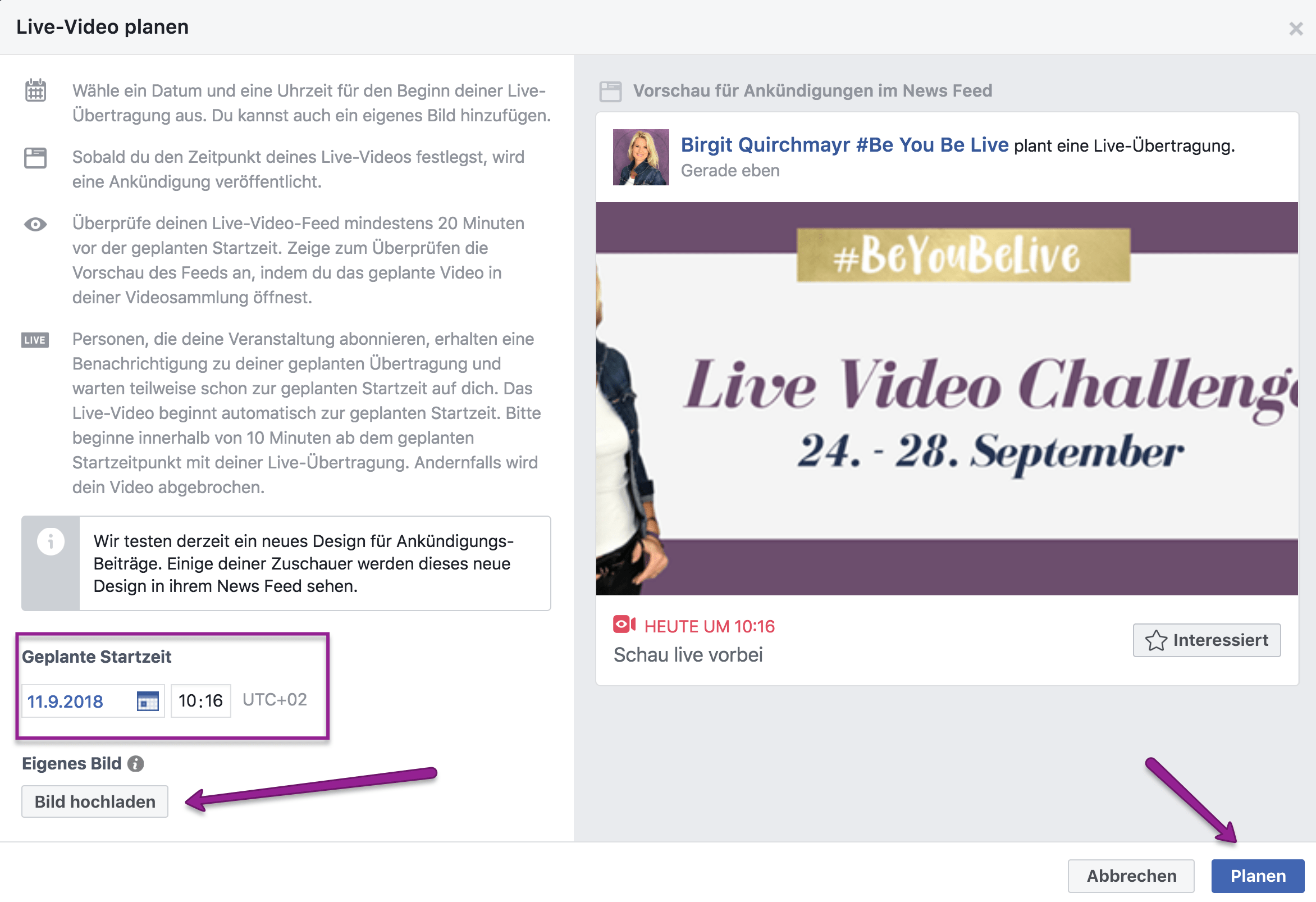 Facebook Live Video planen mit Zoom Meeting