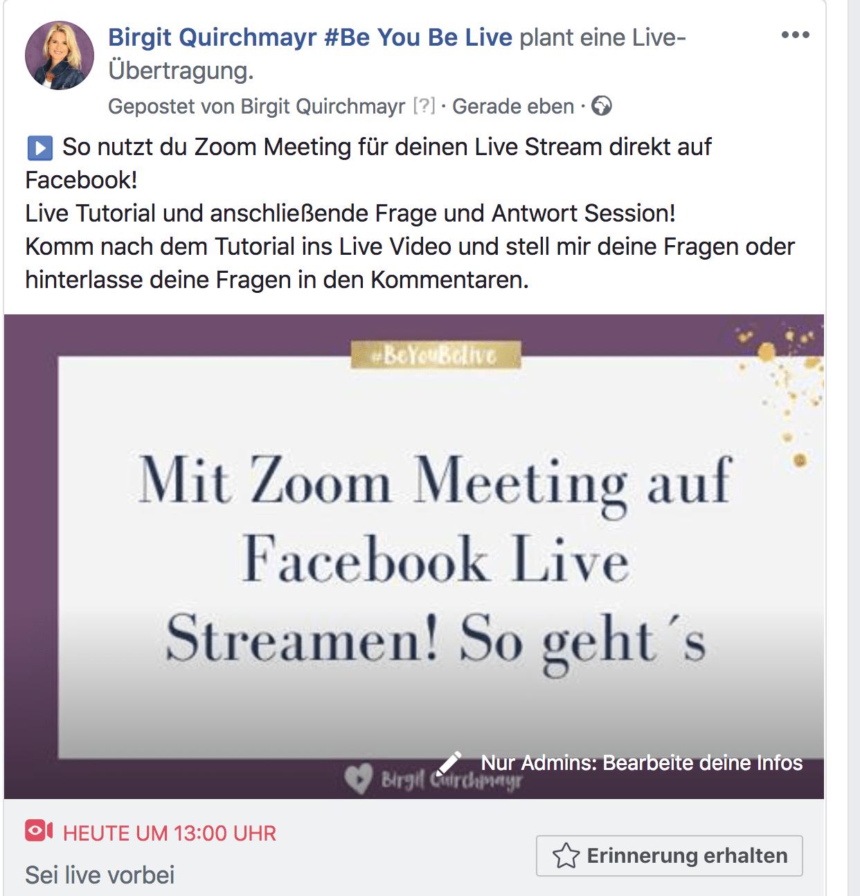 Geplantes Facebook Live Video mit individuellem Vorschaubild
